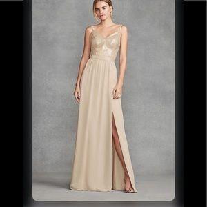 Vera Wang Sequin Bodice Bridesmaid Chiffon Dress 6